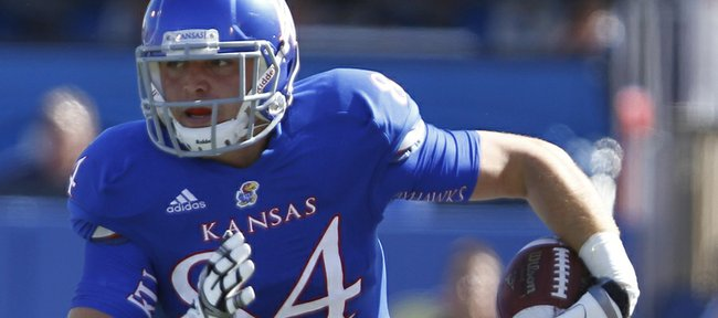 Kansas tight end Mike Ragone heads up the sideline after pulling in a second-quarter catch on Saturday, Sept. 8, 2012 at Memorial Stadium.