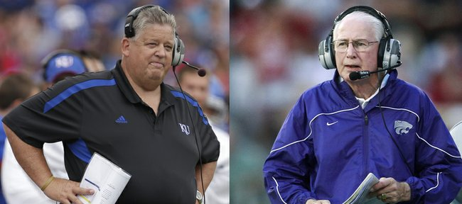 Kansas University coach Charlie Weis, left, and Kansas State coach Bill Snyder, right, will face off for the first time in the annual KU-KSU rivalry football game on Saturday in Manhattan. Weis will be the fifth Jayhawk coach Snyder has faced in 21 years with the Wildcats.