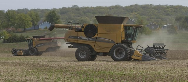 Richard Gwin/Journal World-Photo.With corn harvest wrapping up soybeans follow as Ken Nunemaker and Lowell Neitzel started harvesting on Monday Oct. 1, 2012. northeast of Lawrence just in Jefferson county.