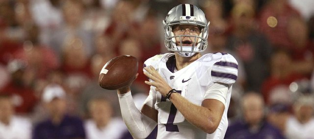 Kansas State quarterback Collin Klein (7) prepares to throw during a game against Oklahoma on Sept. 22, 2012, in Norman, Okla.
