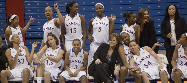 The Kansas University women's basketball team gets goofy during its annual media day on Tuesday, Oct, 9, 2012, at Allen Fieldhouse. Ninth-year coach Bonnie Henrickson, center, first row, said the 2012-13 Jayhawks will be much more fun to coach — and watch — with senior point guard Angel Goodrich (3) having come into her own as a dynamic playmaker.