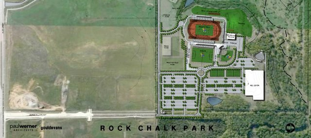 A map of the proposed layout of the Rock Chalk Park sports complex, proposed for about 90 acres north of the northeast intersection of Sixth Street and the South Lawrence Trafficway. Note that north on the map is to the right.