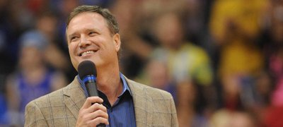 KU coach Bill Self talks to fans at Late Night in the Phog on Friday, Oct. 12, 2012, at Allen Fieldhouse.