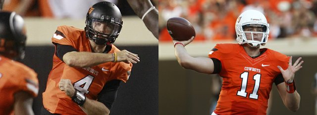 Though talented, Oklahoma State quarterbacks J.W. Walsh (No. 4, left, against Texas on Sept. 29 in Stillwater, Okla.) and Wes Lunt (at right, against Savannah State, Sept. 1 in Stillwater) lack experience, a fact Kansas University hopes to exploit today.