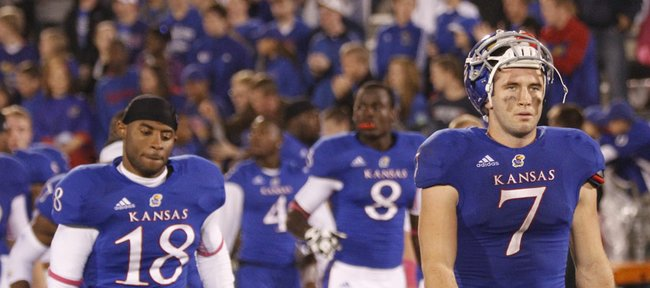 Kansas receiver Kale Pick walks off the field after the Jayhawks came up short on a combeback win over Oklahoma State on Saturday, Oct. 13, 2012 at Memorial Stadium.