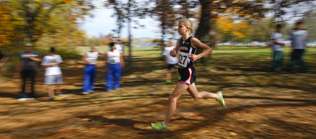 Lawrence High cross country runner Grace Morgan competes in the Sunflower League Championships on Monday, Oct. 15, 2012 at Rim Rock Farm in Lawrence. Morgan finished third in the race with a time of 15:58.0. Nick Krug/Journal-World Photo