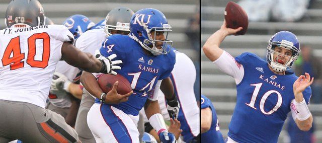 """Kansas University quarterbacks Michael Cummings, left, and Dayne Crist will both play on Saturday at Oklahoma, KU coach Charlie Weis announced on Tuesday. """"I owe it to my team, and I owe it to all the Kansas supporters to put the best product on the field. I think Michael deserves an opportunity to play,"""" Weis said, though he did not divulge which QB would start against the Sooners."""