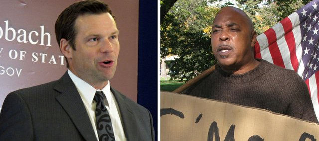 """Topeka activist Sonny Scroggins, right, formally launched an effort Wednesday to recall Kansas Secretary of State Kris Kobach. He said Kobach has been """"derelict in his duties."""" State law makes it difficult to recall officials."""
