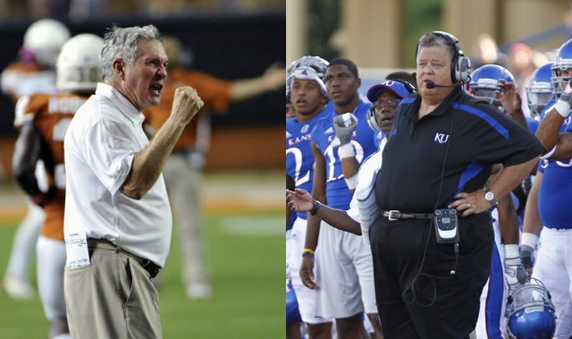 Texas football coach Mack Brown, left, and Kansas coach Charlie Weis say they're both in rebuilding years, though Brown's Longhorns are 5-2 overall, 2-2 in the Big 12, while the Jayhawks are 1-6 and 0-4.