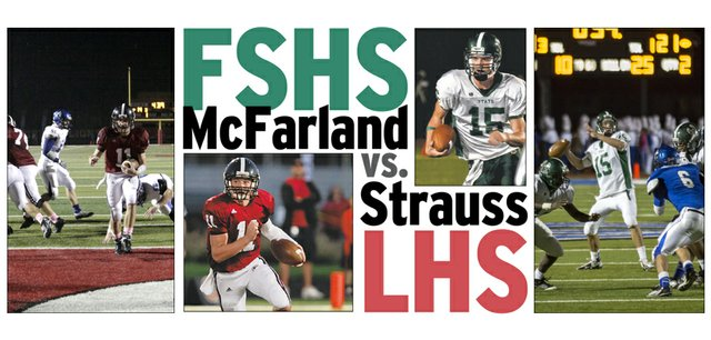 Free State quarterback Kyle McFarland, right, and Lawrence High quarterback Brad Strauss will face off tonight in the city football showdown at LHS.