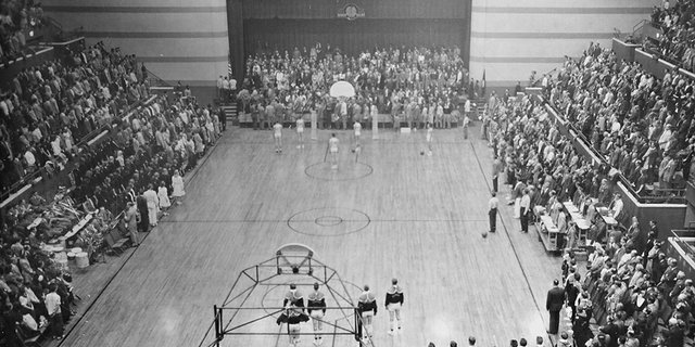 A photo from Emporia State's 1947 game against Kansas University at White Auditorium in Emporia. Emporia State won the game, 67-44.