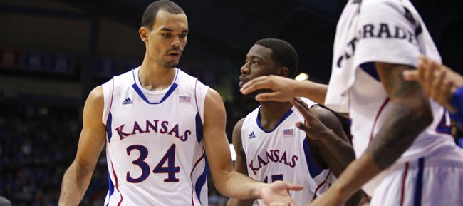 Kansas forward Perry Ellis is congratulated as he comes out of the game during the second half against Emporia State, Tuesday, Oct. 30, 2012 at Allen Fieldhouse.