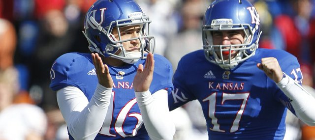 Kansas kicker Nick Prolago (16) and holder Blake Jablonski (17) celebrate Prolago's field goal against Texas during the fourth quarter on Saturday, Oct. 27, 2012 at Memorial Stadium.