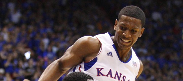Kansas guard Andrew White defends as Emporia State guard Chris Sights looks to pass during the first half, Tuesday, Oct. 30, 2012 at Allen Fieldhouse.