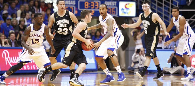 The Kansas defense defends Emporia State around the permimeter during the second half, Tuesday, Oct. 30, 2012 at Allen Fieldhouse.