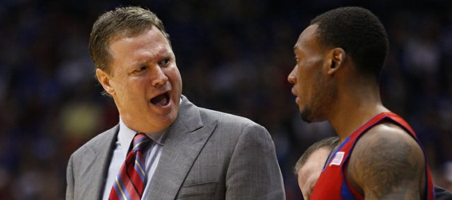 Kansas head coach Bill Self gets at point guard Naadir Tharpe during the second half on Monday, Nov. 5, 2012 at Allen Fieldhouse.
