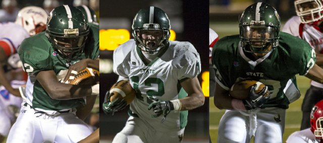 Free State running backs, from left, Senior TJ Cobbs, junior Joe Dineen and senior Demarko Bobo give the Firebirds a multi-dimensional rushing attack that, along with senior quarterback Kyle McFarland, has averaged over 200 yards on the ground each game.