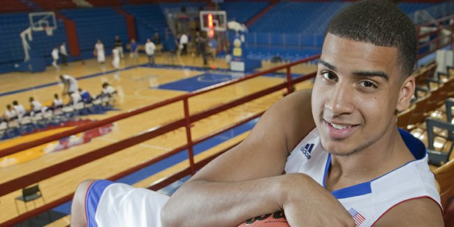 Landen Lucas, a 6-foot-10, 240-pound forward from Portland, Oregon, is one of seven scholarship freshmen on this year's KU team.