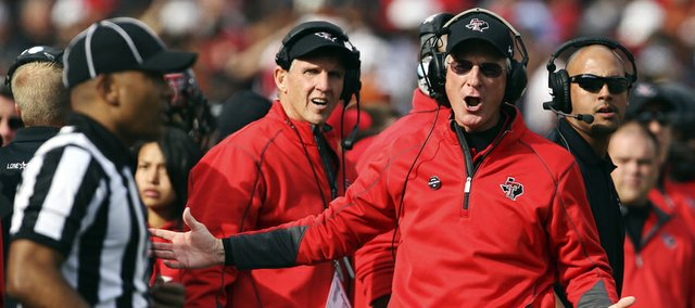 Texas Tech coach Tommy Tuberville yells at an official during the Raiders game against Texas on Saturday in Lubbock.