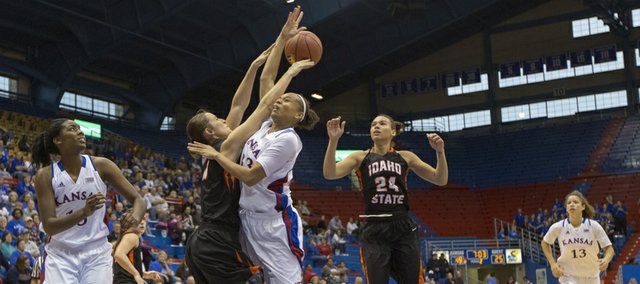 Kansas forward Tania Jackson has the ball knocked away by Jessa Jeppesen during Kansas' game against Idaho State, Sunday, Nov. 11, 2012 at Allen Fieldhouse.