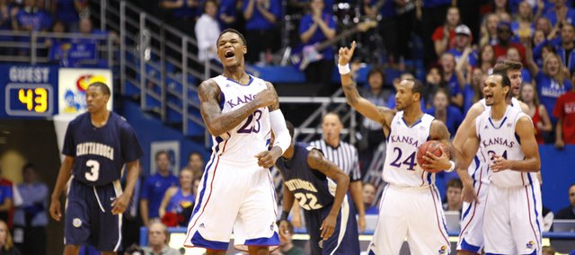 Kansas guard Ben McLemore pumps his fist as he celebrates a run by the Jayhawks against Chattanooga during the second half on Thursday, Nov. 15, 2012 at Allen Fieldhouse.