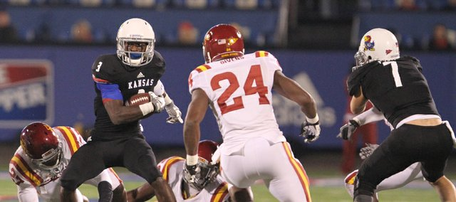 Kansas running back Tony Pierson makes a move against the Iowa State defense during the first quarter on Saturday, Nov. 17, 2012 at Memorial Stadium.