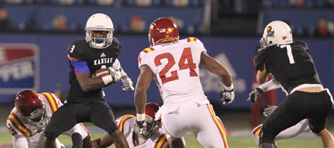 Kansas running back Tony Pierson makes a move against the Iowa State defense during the first quarter on Saturday, Nov. 17, 2012 at Memorial