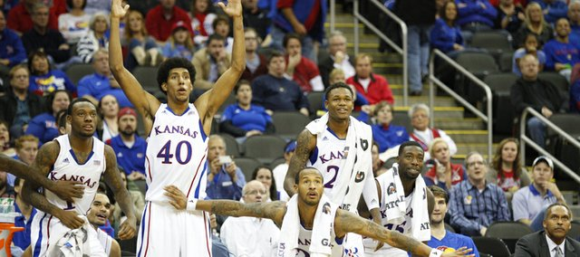The Kansas bench waits with anticipation for a bucket from a reserve player during the second half of the CBE Classic, Monday, Nov. 19, 2012 at the Sprint Center in Kansas City, Missouri.