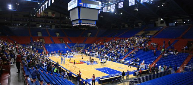 Allen Fieldhouse serves as the backdrop for a volleyball match between Kansas University and Saint Louis on Wednesday, Nov. 21, 2012. The Jayhawks swept the Billikens, 3-0, in their first match on James Naismith Court since 1999.