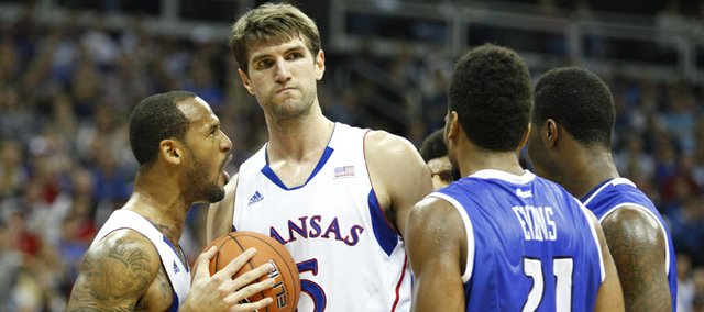 Kansas guard Travis Releford celebrates a bucket by center Jeff Withey and a foul by Saint Louis in the second half of the championship game of the CBE Classic, Tuesday, Nov. 20, 2012 at the Sprint Center in Kansas City, Missouri.