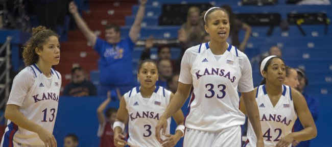 Kansas forward Tania Jackson (33) reacts as time expires in Kansas' game against Wake Forest, Sunday, Nov. 18. 2012 at Allen Fieldhouse. Kansas held off Wake Forest 64-58 and improved its record to 3-0 on the season.