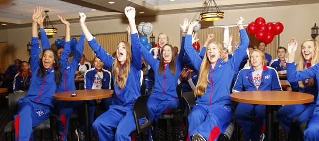 The Kansas volleyball team reacts with excitement as they are announced as the No. 11 overall seed and will play host to the first two rounds of the NCAA tournament during a selection show watch party on Sunday, Nov. 25, 2012 in the Naismith Room at Allen Fieldhouse. The Jayhawks will play Cleveland State on Friday at Allen Fieldhouse.