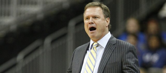 Kansas head coach Bill Self questions an errant pass by the Jayhawks during the first half of the CBE Classic, Monday, Nov. 19, 2012 at the Sprint Center in Kansas City, Missouri.