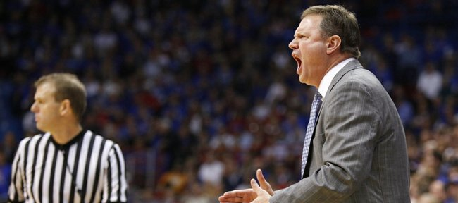 Kansas head coach Bill Self yells at his players to get it together after a near turnover against San Jose State during the second half on Monday, Nov. 26, 2012 at Allen Fieldhouse.