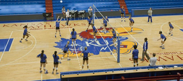 Kansas University&#39;s volleyball team practices at Allen Fieldhouse on Tuesday, Nov. 20, 2012, in preparation for their match with Saint Louis. Normally, the team practices and plays games at Horejsi Center, but will meet SLU Wednesday, Nov. 21, 2012, at Allen in anticipation of landing a home NCAA Tournament match.