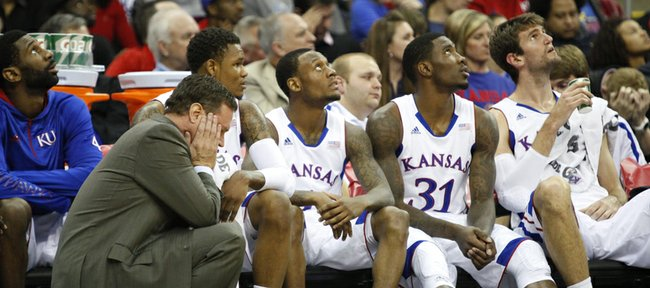 Kansas head coach Bill Self puts his head in his hands after a Jayhawk turnover turned into a bucket for Oregon State during the second half on Friday, Nov. 30, 2012 at the Sprint Center in Kansas City, Missouri.