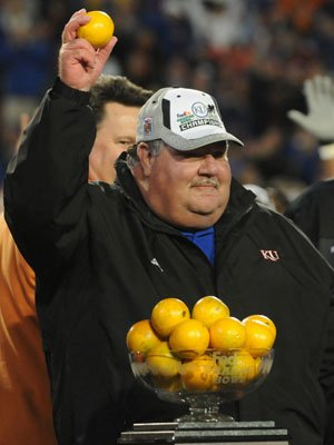 KU football coach Mark Mangino celebrates after the Jayhawks won the Orange Bowl on Jan. 3. Mangino went 50-48 from 2002-2009.