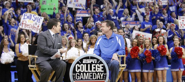 ESPN College Gameday's Rece Davis and Kansas head coach Bill Self scan the Allen Fieldhouse crowd prior to Self's interview on Saturday, Jan. 29, 2011 at Allen Fieldhouse.