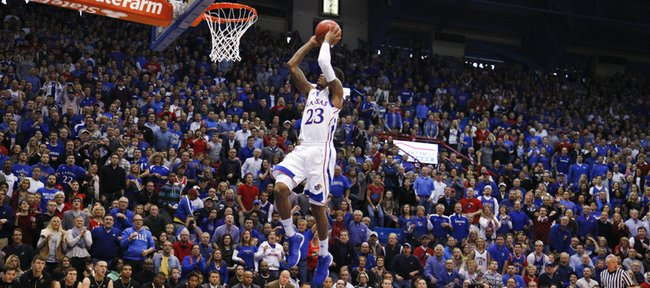 The fieldhouse gets up for a breakaway jam from Kansas guard Ben McLemore during the first half on Saturday, Dec. 8, 2012.