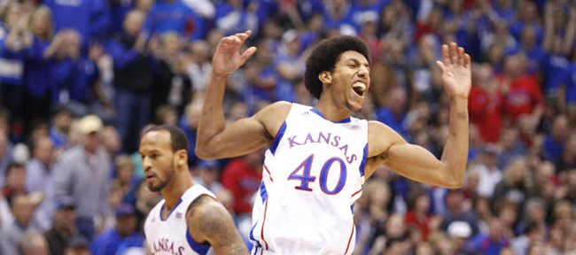 Kansas forward Kevin Young celebrates a bucket by the Jayhawks against Colorado during the first half on Saturday, Dec. 8, 2012 at Allen Fieldhouse.