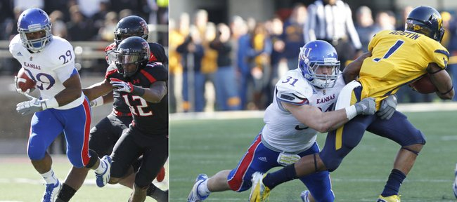 Kansas University running back James Sims, left, and linebacker Ben Heeney (31) stood out on either side of the ball during the Jayhawks' otherwise dismal 2012 football season.