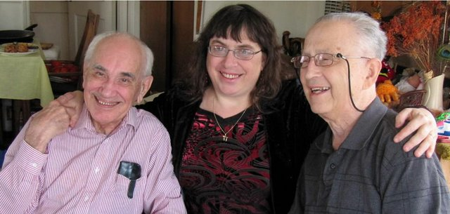 "Lawrence author and poet laureate of Kansas, Caryn Mirriam-Goldberg, center, has written a book about former Polish resistance fighter Jarek Piekalkiewicz, left, and Holocaust survivor Lou Frydman.  Mirriam-Goldberg, Piekalkiewicz and Lou Frydman's wife, Jane Frydman, will have a reading and a launch party for the book ""Needle In the Bone"" at 7 p.m. today at the Lawrence Jewish Community Center, 917 Highland Drive. Lou Frydman died  in January."
