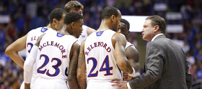 Kansas head coach Bill Self gets a quick talk with his players during the second half on Thursday, Nov. 15, 2012 at Allen Fieldhouse.