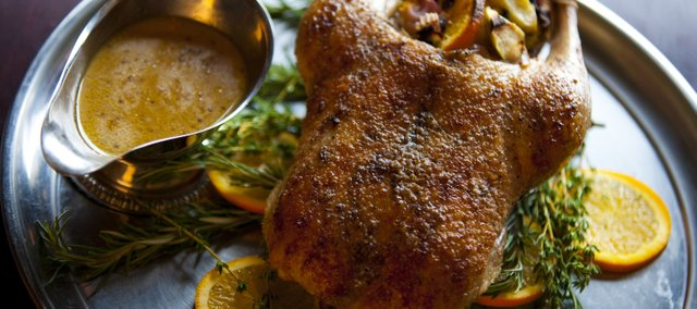 Ken Baker's Five-Spice Orange and Apple Roast Duck with Madeira-Grainy Mustard Sauce. The recipe works for a Christmas goose, too.