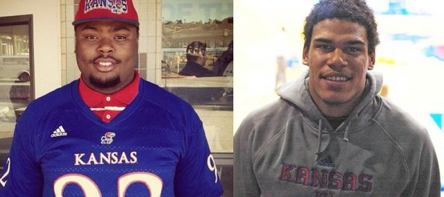 Standout defensive linemen Marquel Combs, left, and Chris Martin, right, are on their way from the junior-college ranks to Kansas University's football team after signing and faxing in letters of intent on Wednesday.