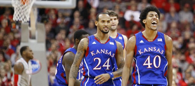 Kansas forward Kevin Young gets excited during a Jayhawk run against Ohio State in the second half on Saturday, Dec. 22, 2012 at Schottenstein Center in Columbus, Ohio.