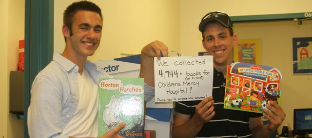 Tonganoxie High School seniors Wyatt Maurer and Tyler O'Briant launched a book drive for patients at Children's Mercy Hospital in Kansas City, Mo. Both have spent time at Children's Mercy as patients and are members of the hospital's Teen Advisory Board.