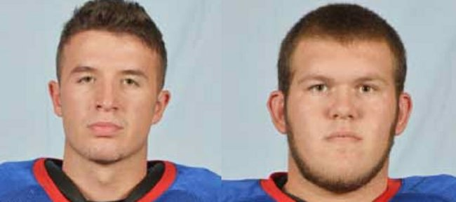 Hutch CC place-kicker Michael Mesh, left, and offensive lineman Colby Hamel have announced they will walk on to Kansas' football team for the 2012 season.