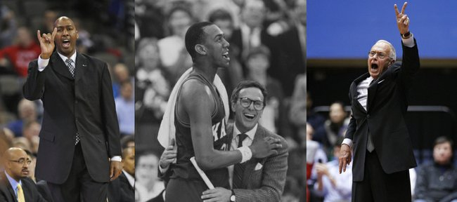 Danny Manning, left, and Larry Brown, right, will take the court together again tonight as Manning's Tulsa Golden Hurricane take on Brown's SMU Mustangs in a men's college basketball contest. Manning and Brown, seen at center after the 1988 NCAA championship game, have a deep friendship dating back to their time at Kansas University.