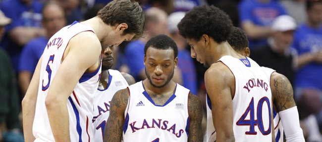 Kansas players come to a huddle while trailing Temple during the second half on Sunday, Jan. 6, 2013 at Allen Fieldhouse.